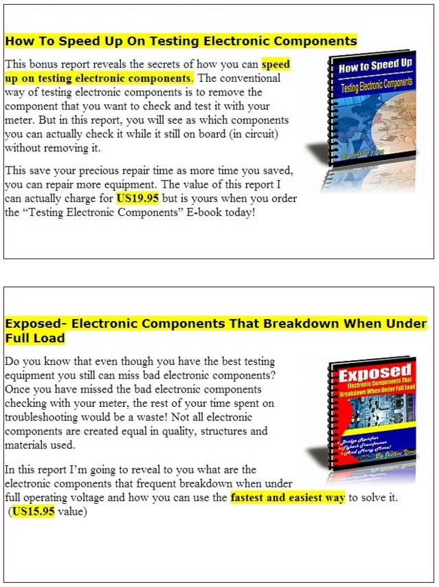 Testing electronic components if you get in today ill give you 8 special time limited bonuses that will help you get going with your electronics repairing even faster fandeluxe Ebook collections